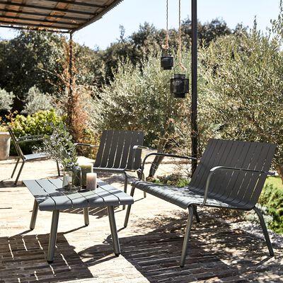 Table basse de jardin en aluminium - vert cèdre-PARADOU