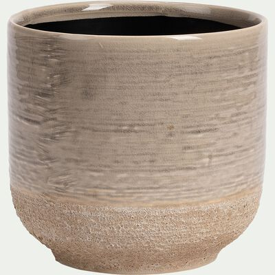 Cache-pot en céramique - gris clair H17xD18 cm-ISSA