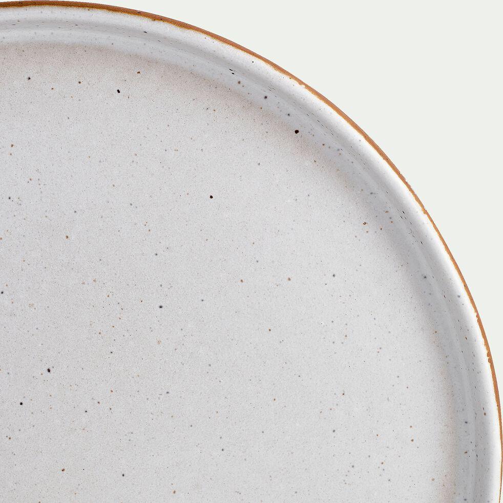 Assiette à dessert en faïence blanc et marron D19cm-TUP