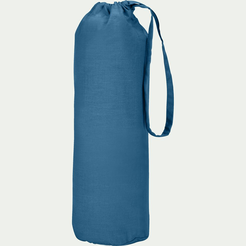 Drap housse en coton - bleu figuerolles 140x200cm B25cm-CALANQUES