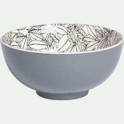 Bol en porcelaine motifs laurier - gris D15cm-AIX