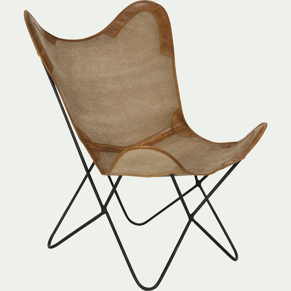 Housse de fauteuil butterfly en toile de jute beige - structure non incluse-BUTTERFLY