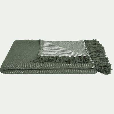 Plaid tissé à franges en coton - vert cèdre 130x170cm-SEVILLE