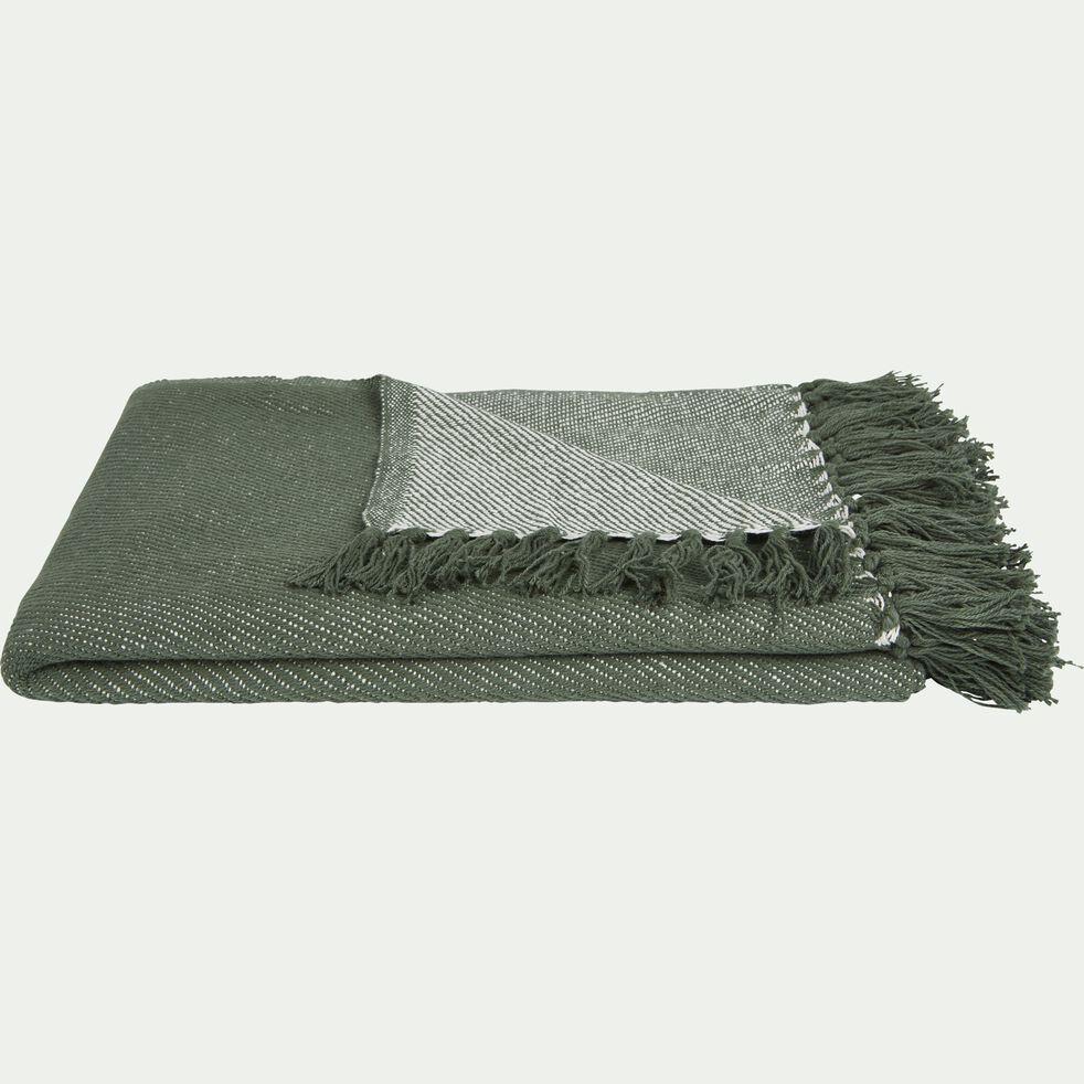 Plaid à franges en coton tissé vert cèdre 130x170cm-SEVILLE