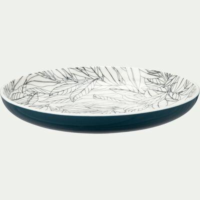 Assiette à dessert en porcelaine motifs laurier - bleu d20,8cm-AIX