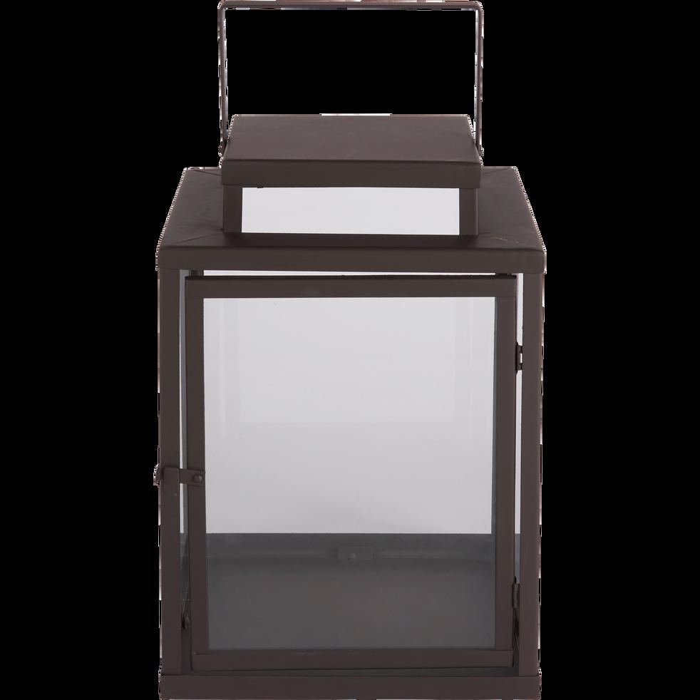 Lanterne en verre et métal gris anthracite H55x30cm-Frouas
