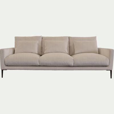 Canapé 4 places en velours - beige roucas-SOZY