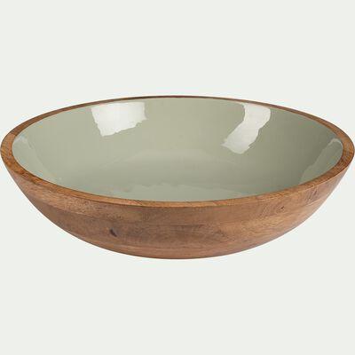 Saladier en bois de manguier - D33cm vert-AGIBI