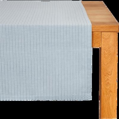 Chemin de table à motifs en coton bleu 50x150cm-YASMINA
