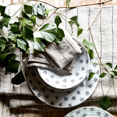 Serviette de table rayée en lin beige 41x41cm-BORSALINO