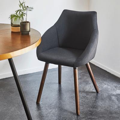 Chaise en tissu noir calabrun avec accoudoirs-NOELIE