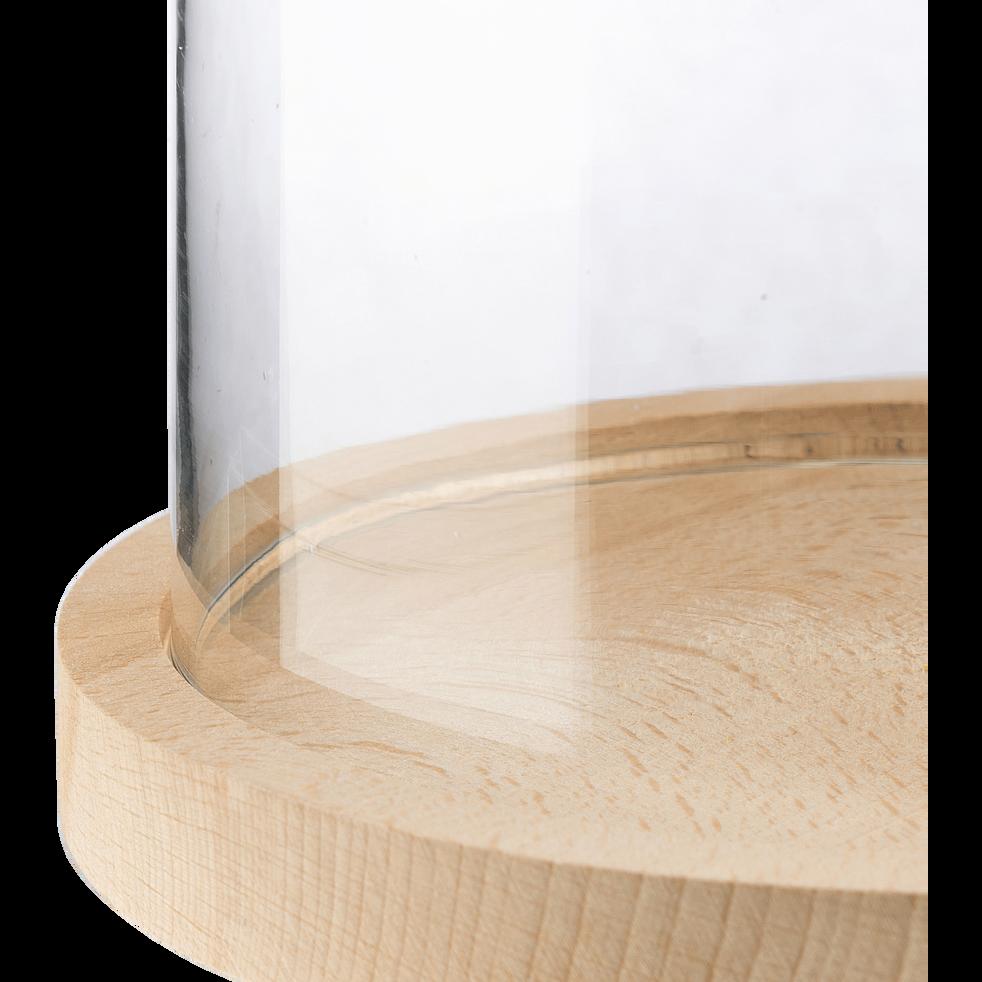 Cloche en verre avec soucoupe en hêtre D17,5xH23cm-LAGUNE