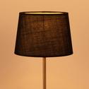 Abat-jour tambour en tissu noir-MISTRAL