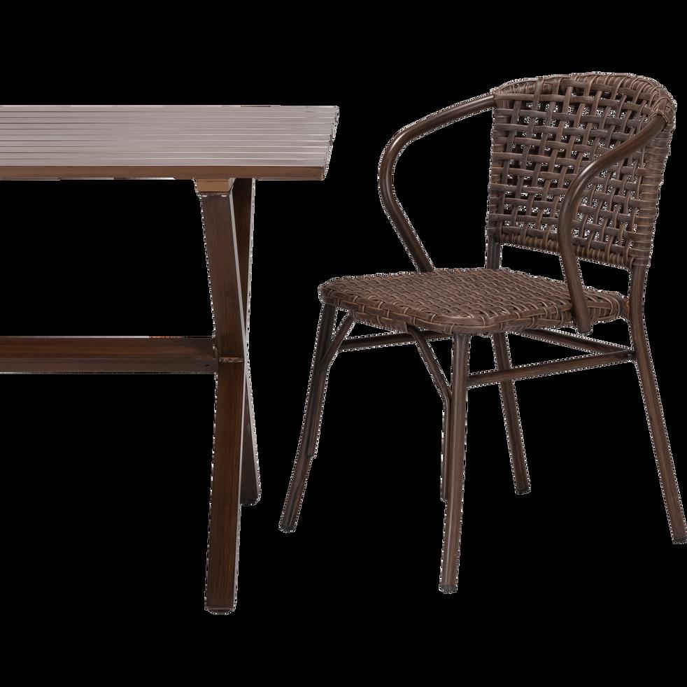 Chaise de jardin en aluminium brun-BOLZANO