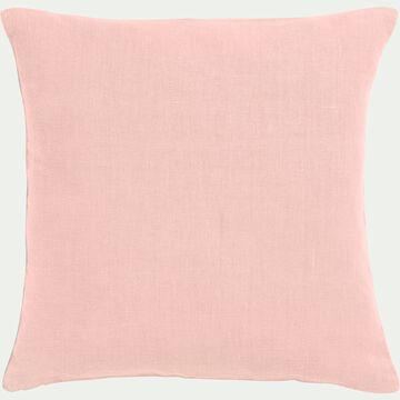 Coussin en lin lavé rose argile 45x45cm-VENCE