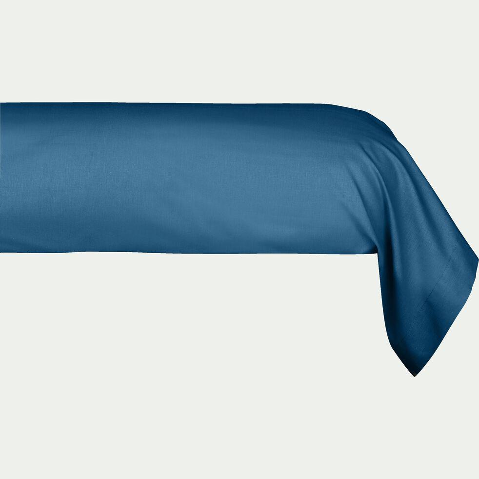 Taie de traversin en coton - bleu figuerolles 43x190cm-CALANQUES