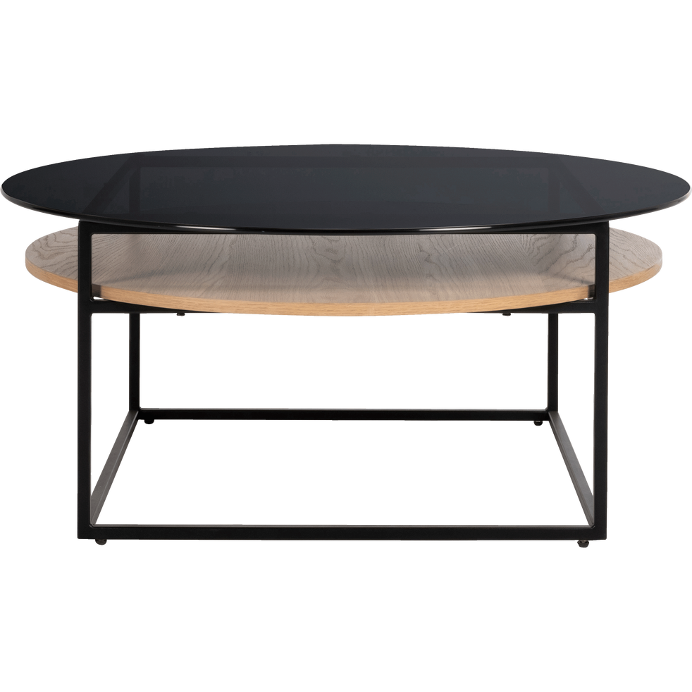 table basse ronde en verre avec double plateau eiro. Black Bedroom Furniture Sets. Home Design Ideas