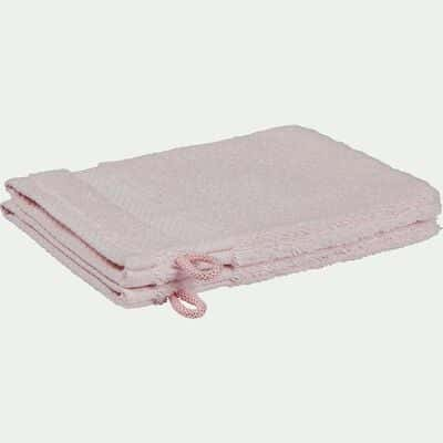 Lot de 2 gants de toilette en coton peigné - rose simos-AZUR