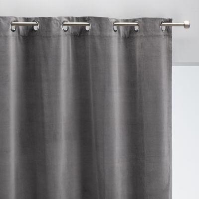 Rideau à œillets en velours de coton - gris restanque 140x250cm-EDEN