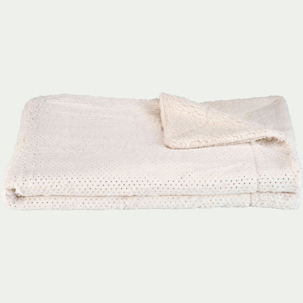 Plaid pailleté imitation fourrure en polyester - blanc 130x170cm-DOLLY