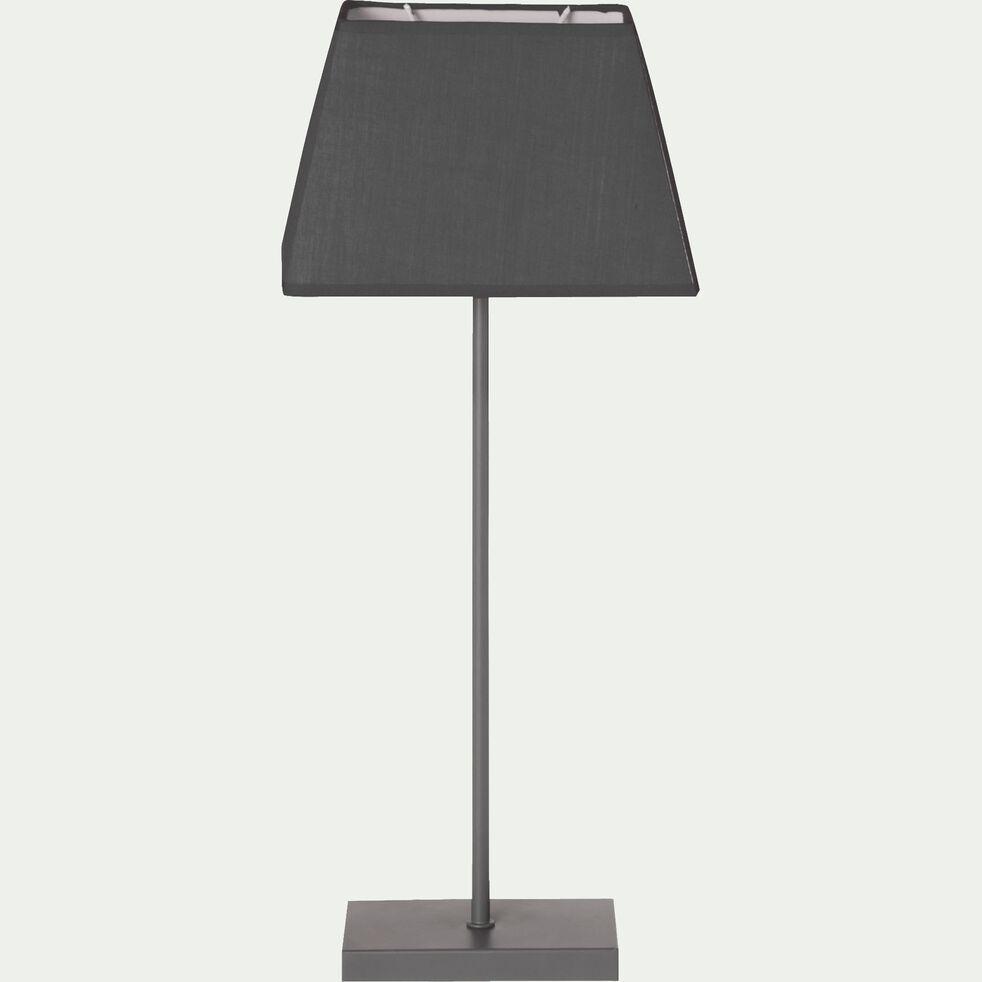Lampe à poser en acier époxy avec abat-jour gris H47cm-Svelta