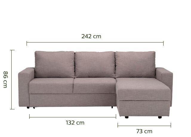 Canapé d'angle réversible convertible en tissu gris borie-FERNAND