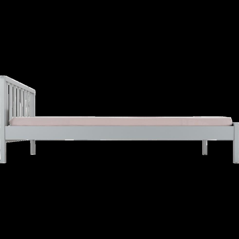 Lit 2 places en bois avec tête de lit barreaux Gris borie - 140x200 cm-JAUME