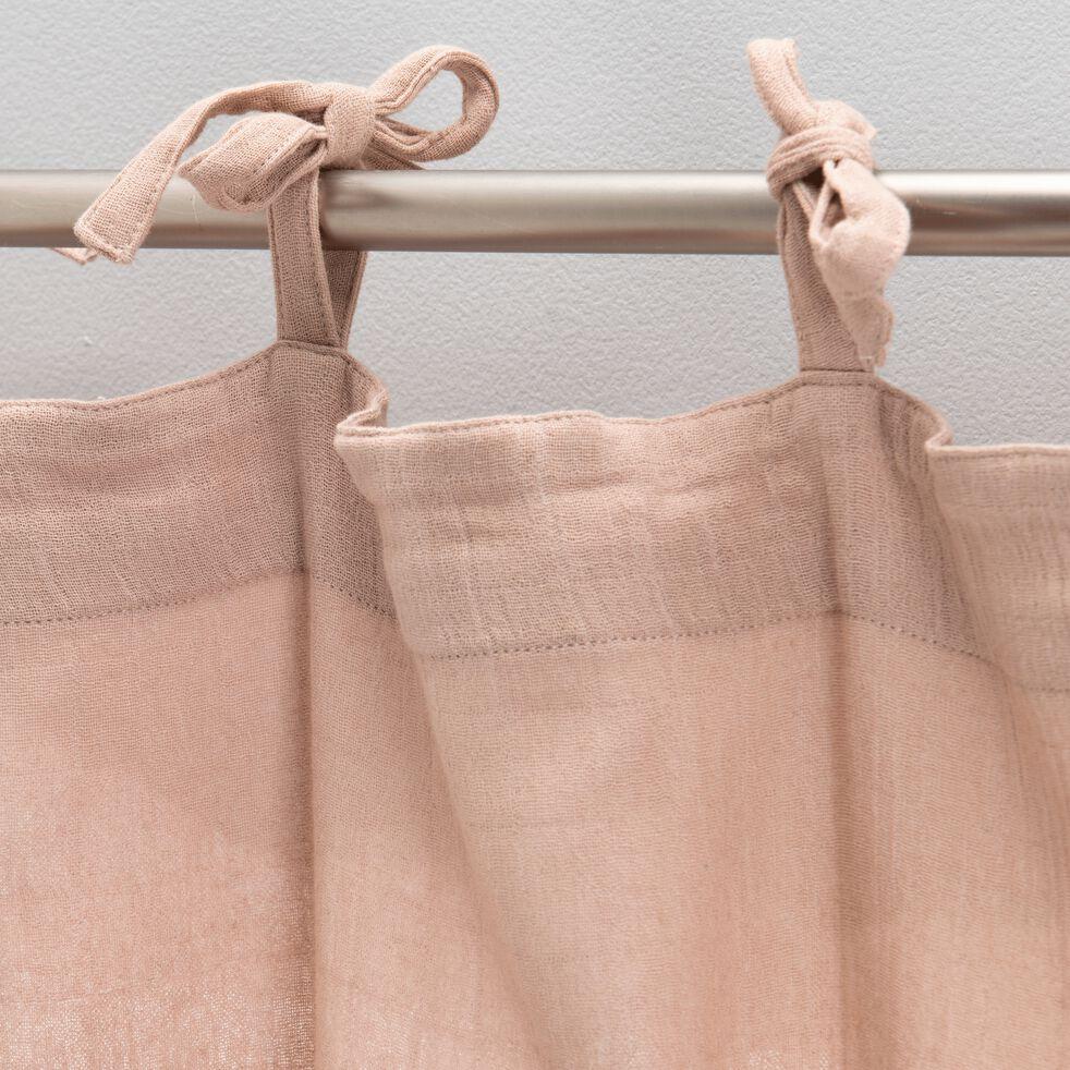 Rideau à nouettes en gaze de coton 140x250cm - rose salina-Nuage