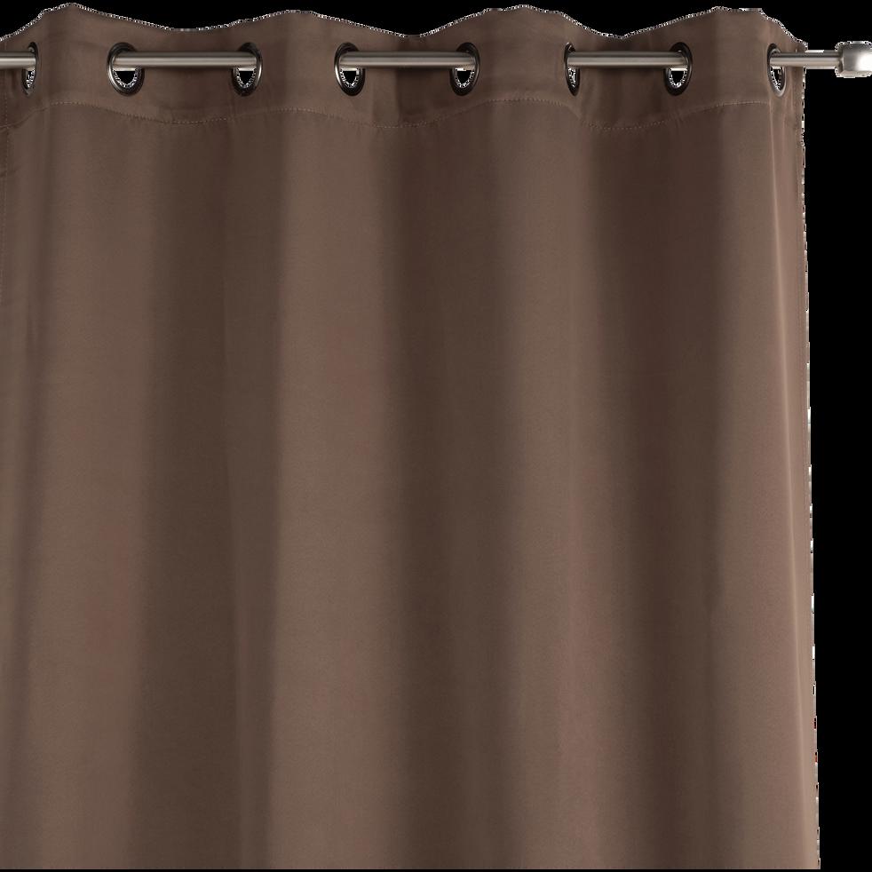 Rideau occultant à oeillets brun châtaignier 140x250cm-GORDES