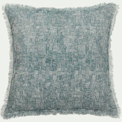 Coussin à fines rayures en lin et coton - bleu 40x40cm-GRANS