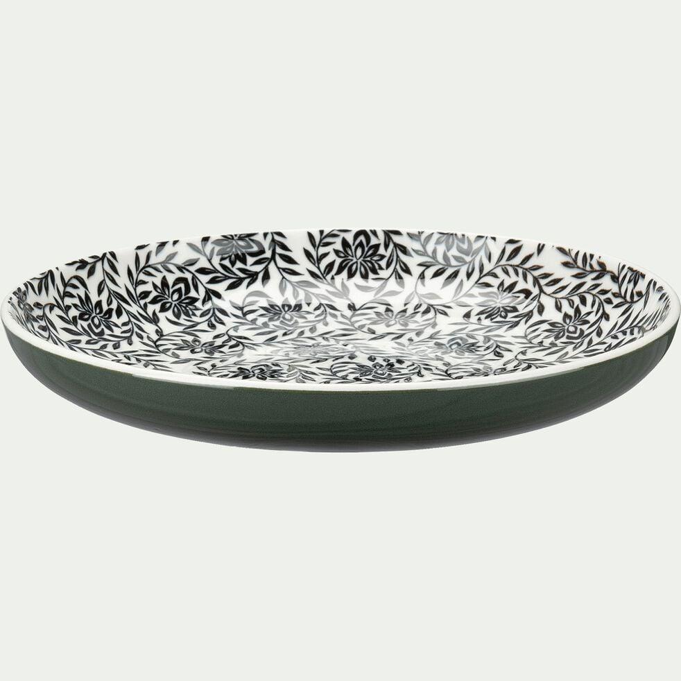 Assiette à dessert en porcelaine motifs jasmin - vert cèdre D20cm-AIX