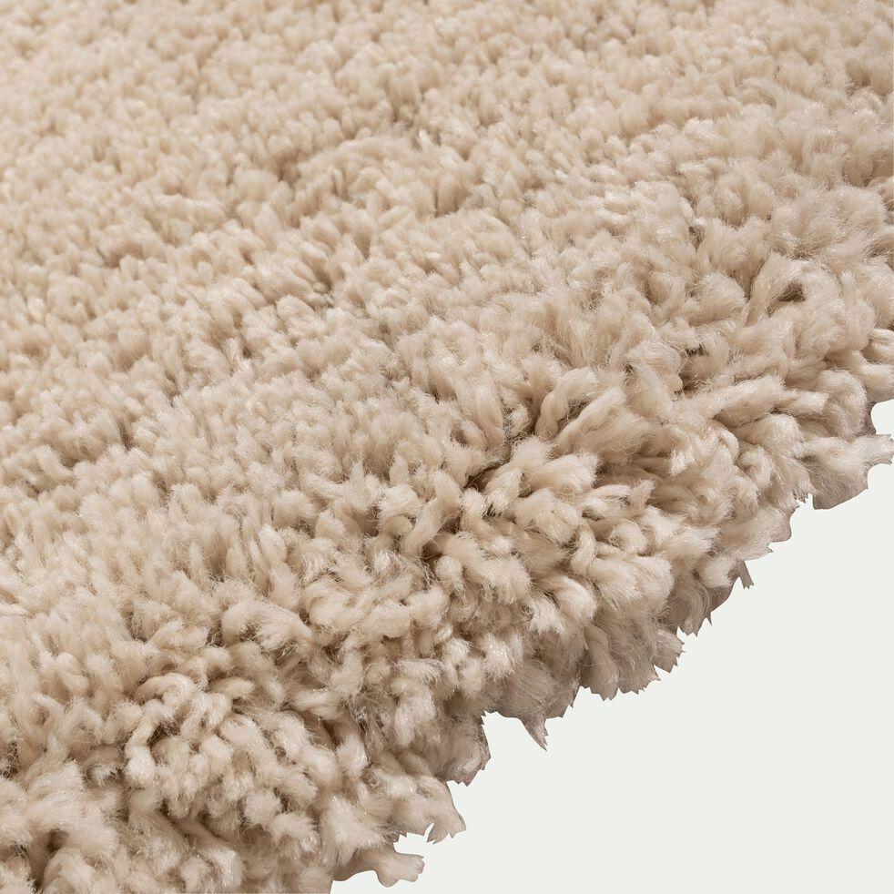 Tapis rond à poils longs blanc écru D160cm-KRIS
