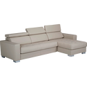 Canapé d'angle réversible fixe en cuir de buffle blanc-MAURO