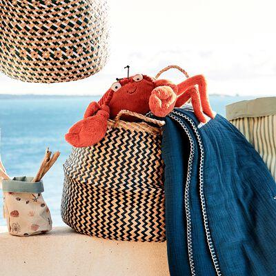 Panier pliable en jonc de mer et papier - bleu D40xH40cm-Lola