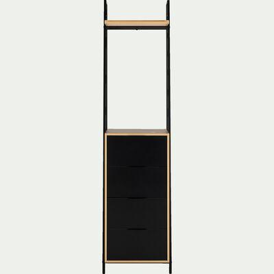 Commode 4 tiroirs et 1 tablette noir-HENRY