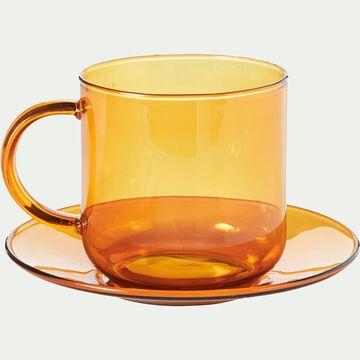 Tasse avec sous-tasse en verre ambré 35cl-AUBER