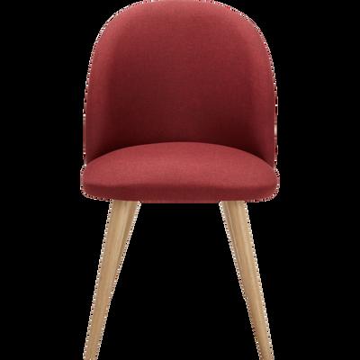 Chaise rétro en tissu rouge foncé-SERAPHINE