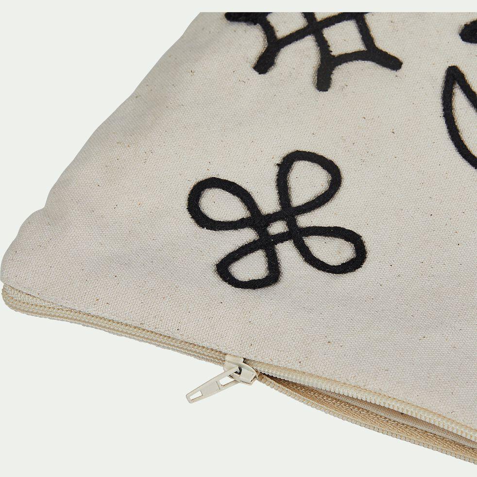 Pochette brodée en coton - noir et blanc 23x30cm-EGYPTIAN