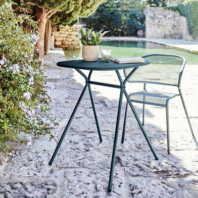 Ensemble table et chaise de jardin en acier - bleu figuerolles