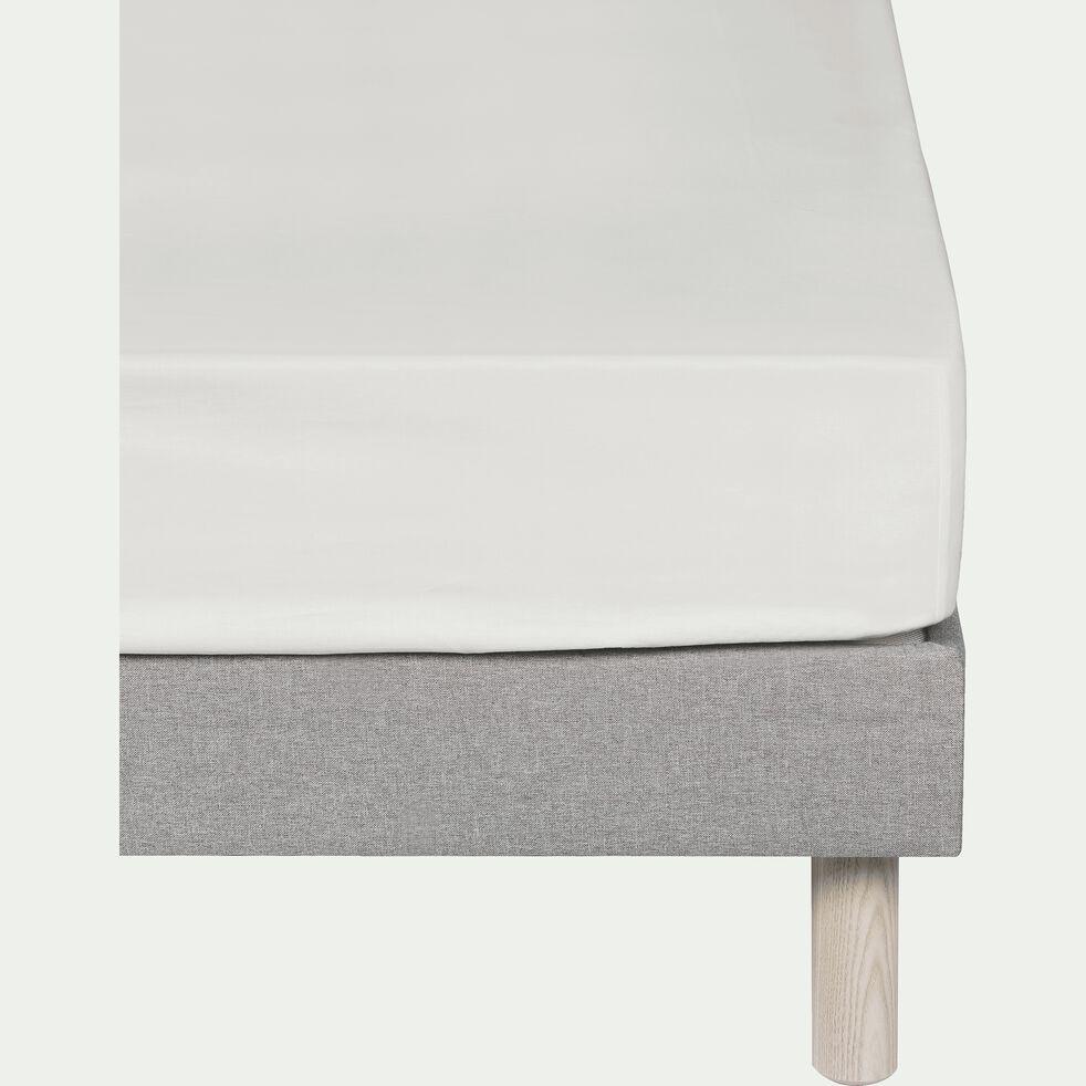 Drap housse en coton - blanc capelan 140x200cm B25cm-CALANQUES