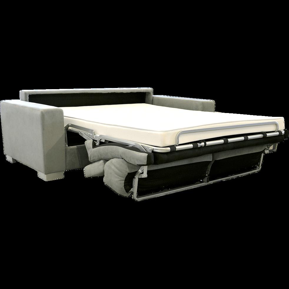 Canapé 3 places convertible en microfibre taupe-MAURO