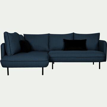 Canapé d'angle gauche fixe en tissu - bleu figuerolles-SAOU
