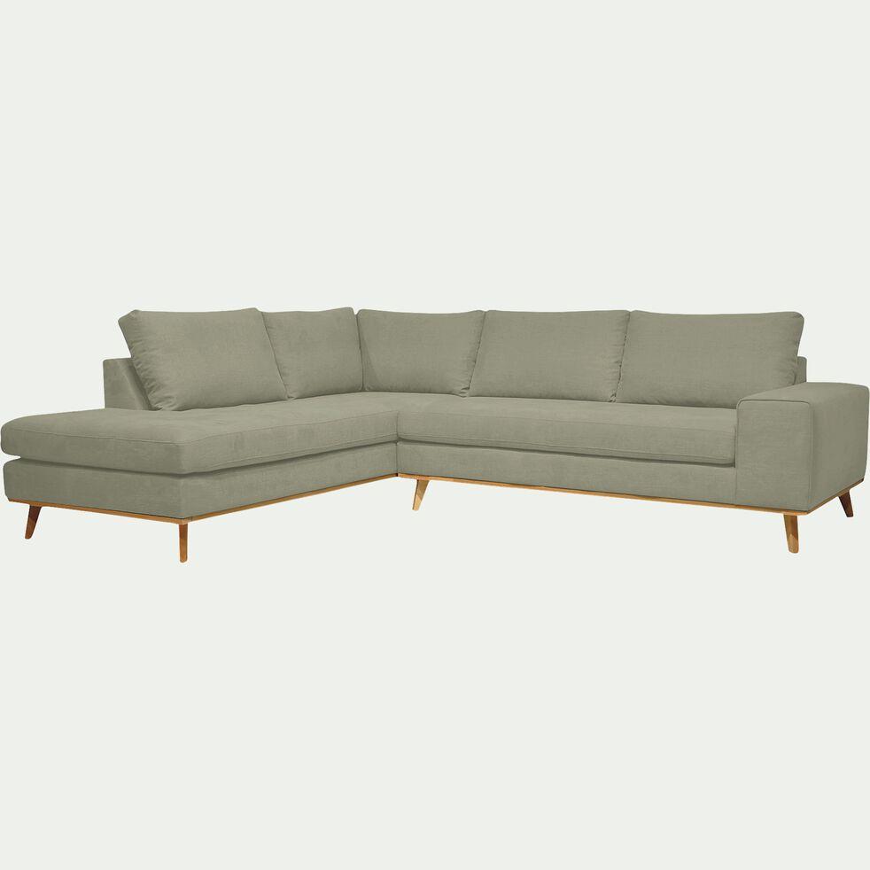 Canapé d'angle fixe gauche en tissu - kaki-PICABIA