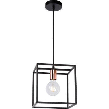 Suspension géométrique en métal noir H25cm-ARTHUR