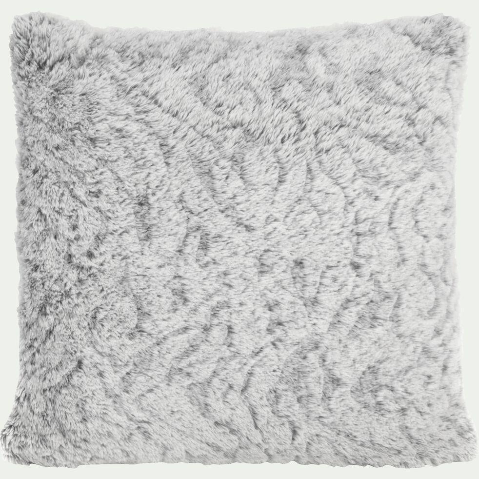 Coussin imitation fourrure en polyester - gris clair 40x40cm-Lalou