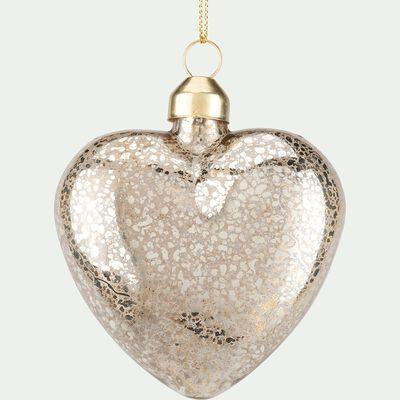Suspension coeur en verre - D8cm argent-SIXTE