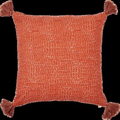 Coussin en coton imprimé et à pompons orange brique 45x45 cm-TUIL