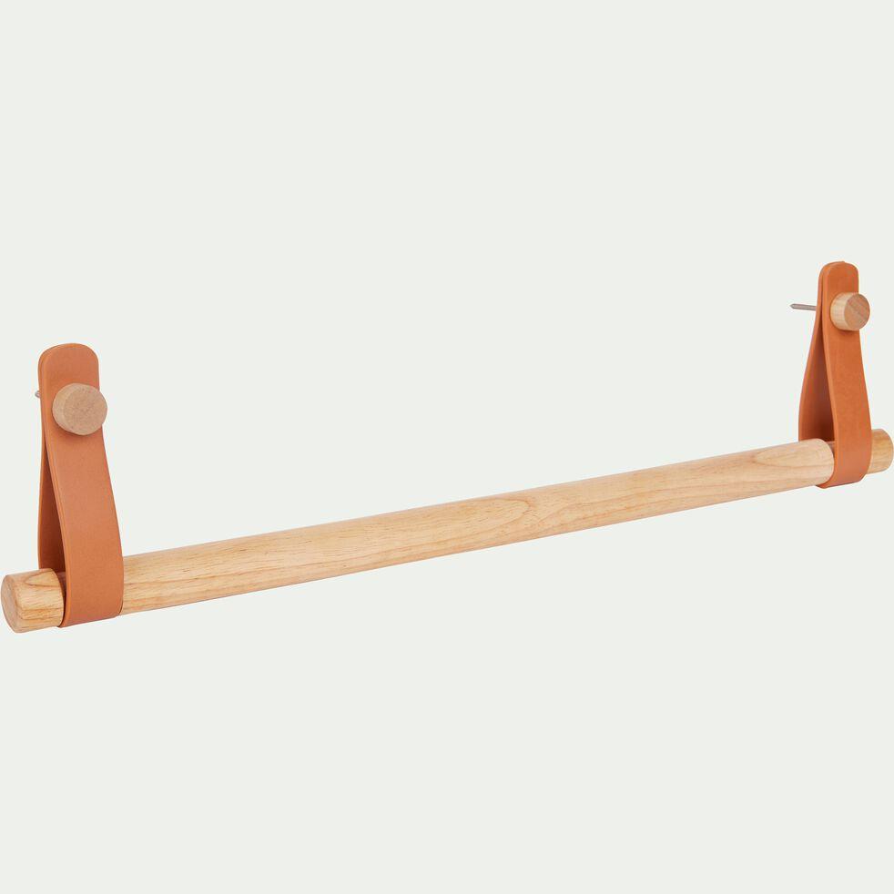 Porte serviette barre en bois et cuir - naturel L50cm-BRINDO