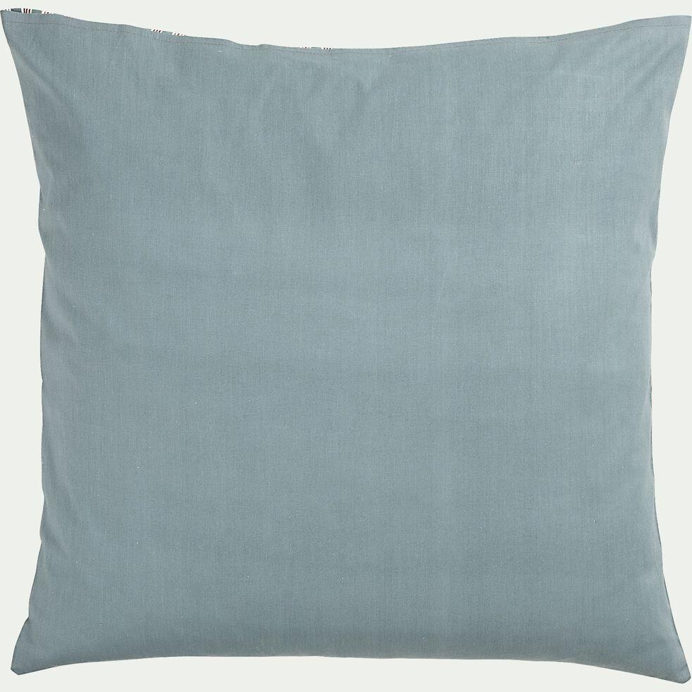 Lot de 2 taies d'oreiller rayées en coton - bleu 63x63cm-VERGA