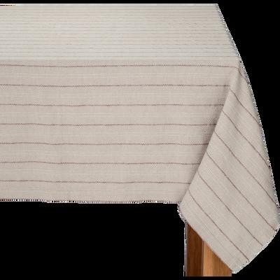 Nappe en lin et coton à motifs rouge sumac 170x250cm-NAIS